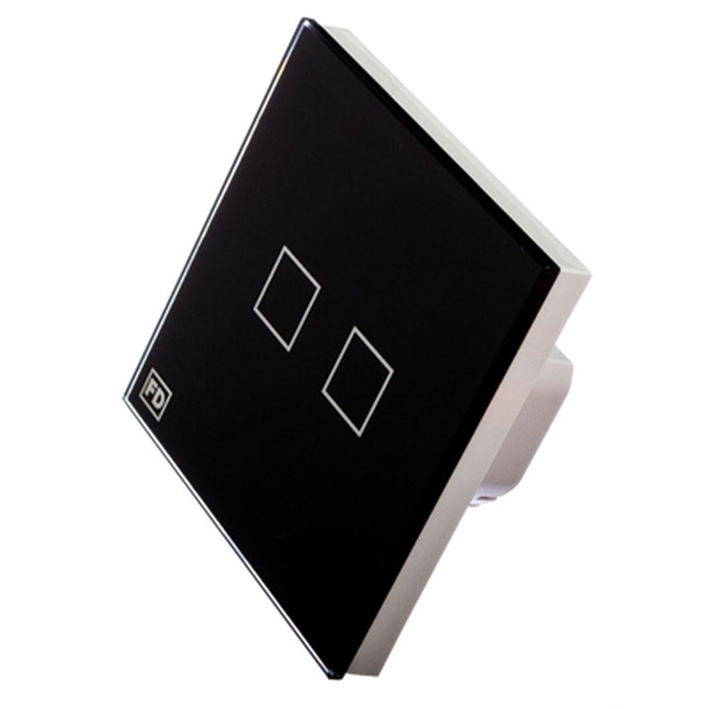 FDelectonics Выключатель сенсорный двухклавишный черный, стекло, пластик, KG-021BL