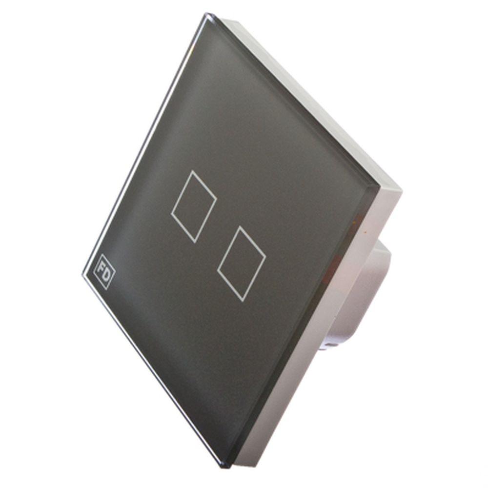 FDelectonics Выключатель сенсорный двухклавишный серый, стекло, пластик, KG-021CS