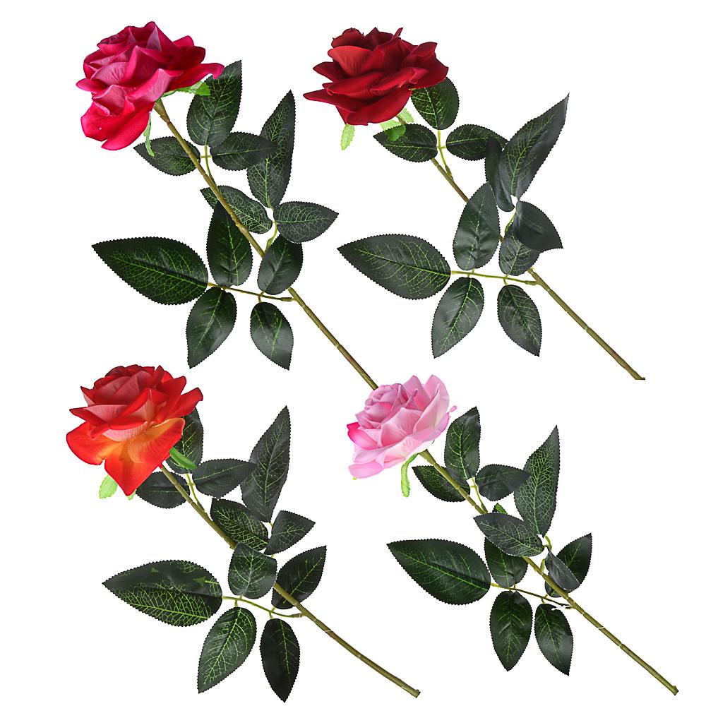 """Цветок искусственный """"В виде Розы"""" 67см, пластик, полиэстер, 4 цвета"""