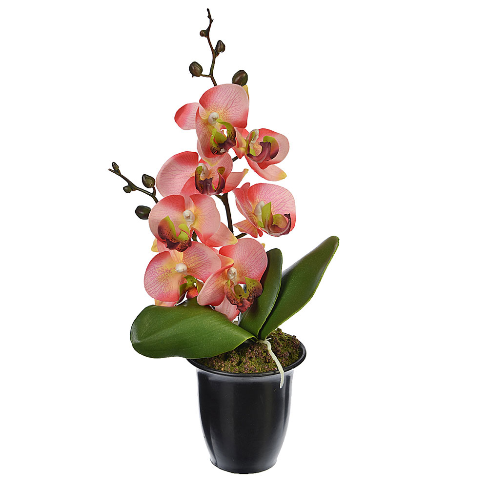 """Цветы в горшке """"В виде Орхидеи"""" 23см, пластик, силикон, 8 цветов"""
