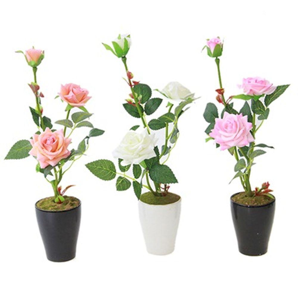 """Цветы в горшке """"В виде Розы"""", 32см, пластик, полиэстер, 3 цвета"""