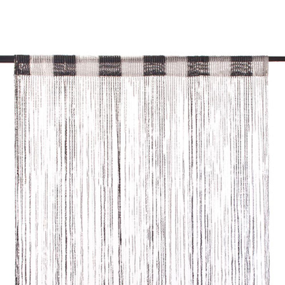 Занавеска нитяная, полиэстер, 1x2м, с блестками, 2-х цвет., черный, белый