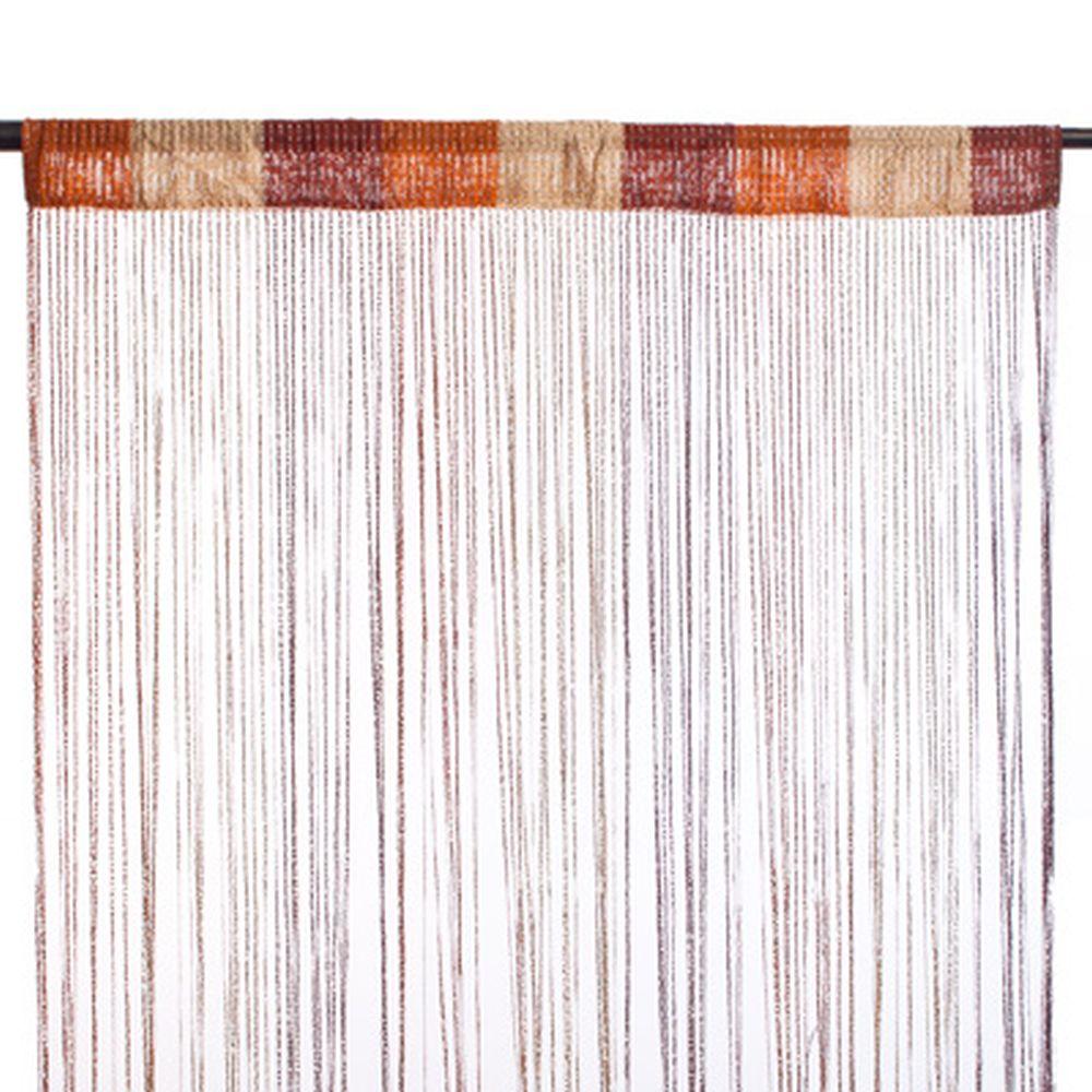 Занавеска нитяная, полиэстер, 1x2м, с блестками, 3-х цвет., кофейн, шоколадн., белый