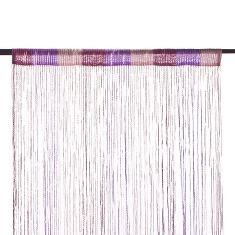 Занавеска нитяная, полиэстер, 1x2м, с блестками, 3-х цвет., фиолет., сирен., белый