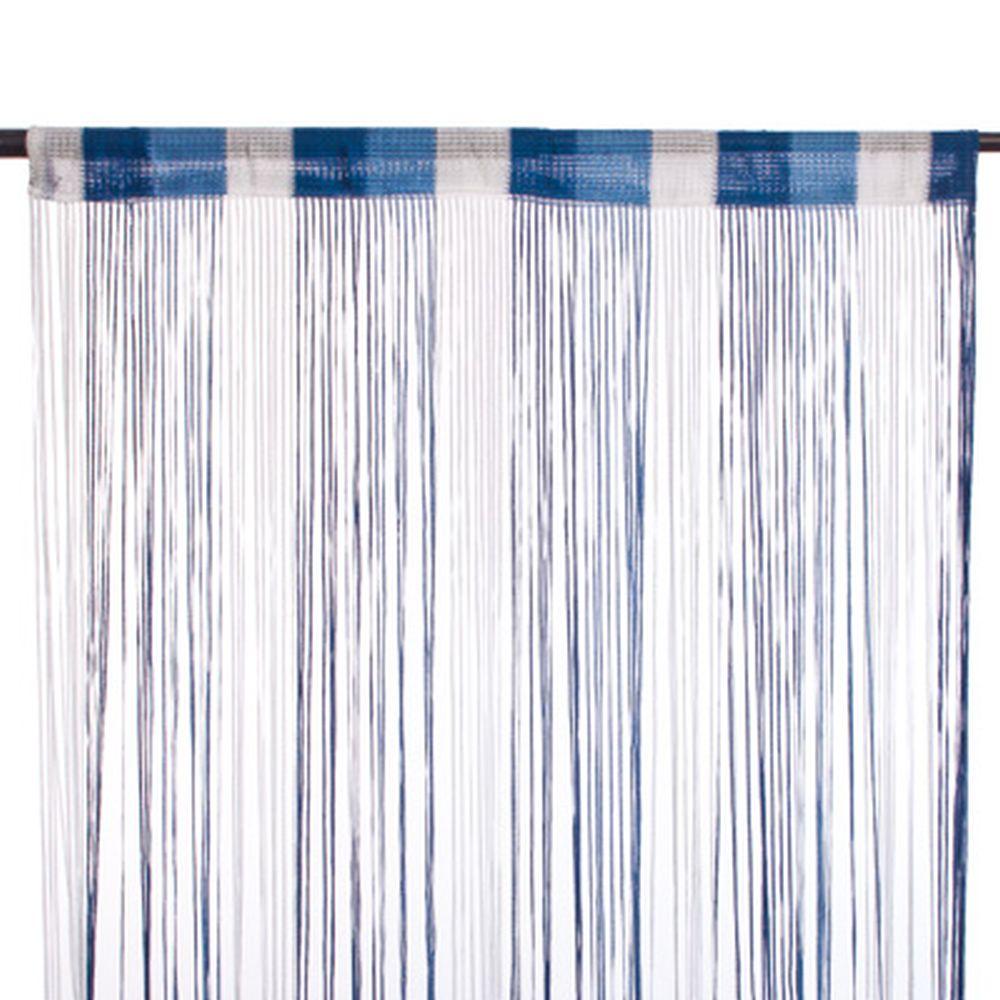 Занавеска нитяная, полиэстер, 1x2м, широкая, 3-х цвет., синий, голубой, белый