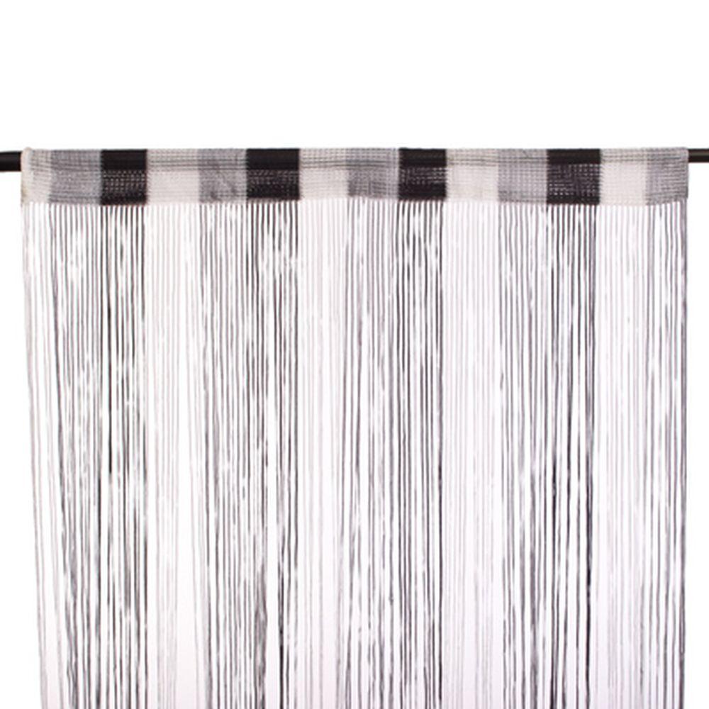 Занавеска нитяная, полиэстер, 1x2м, широкая, 3-х цвет., черный, серый, белый