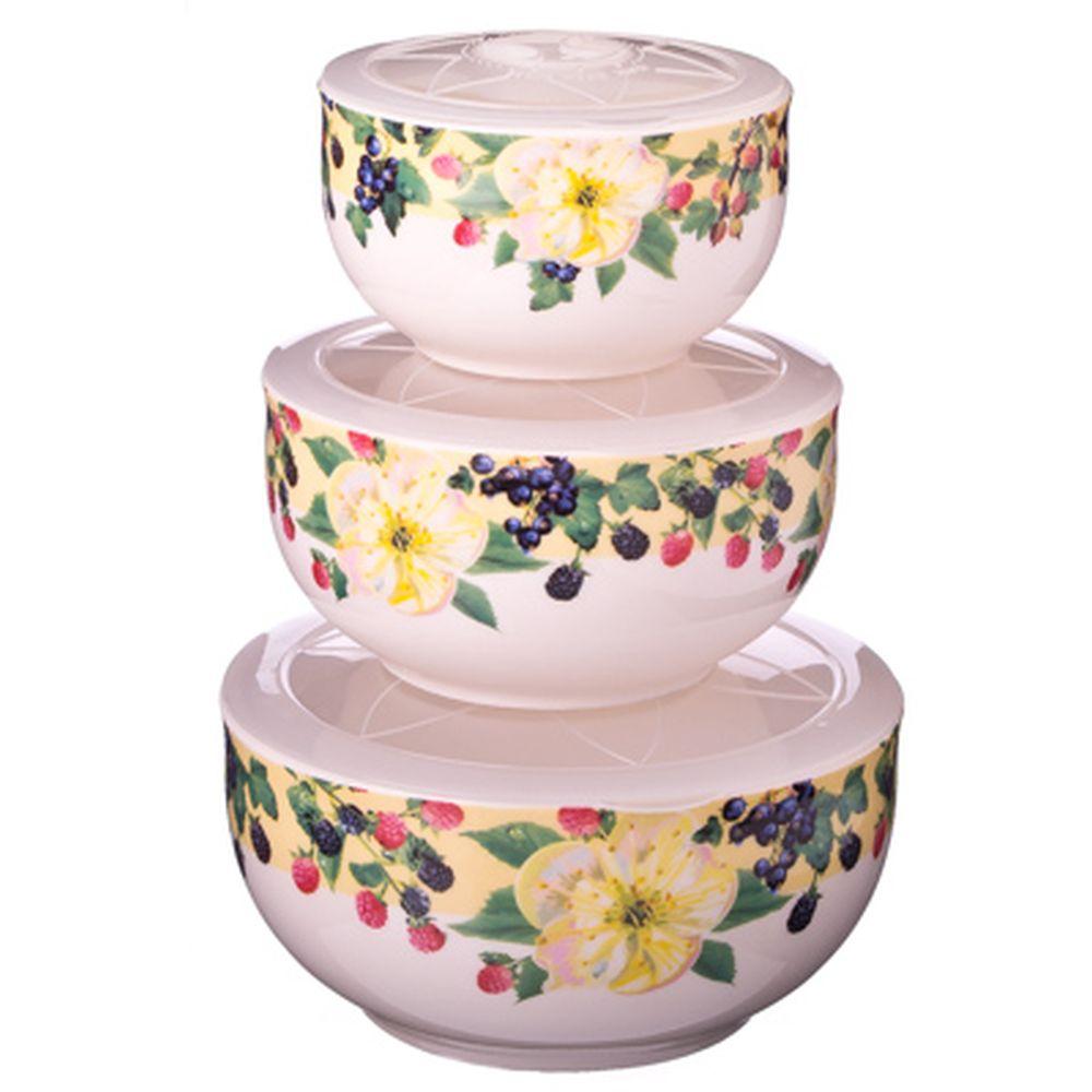 """Набор салатников 3шт керамика, с пластиковой крышкой (300мл, 500мл, 650мл) """"Ягодная фантазия"""""""