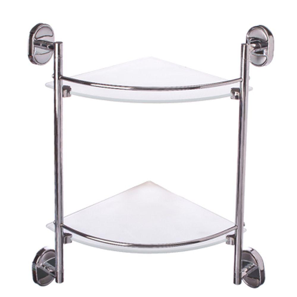 Полка для ванной комнаты угловая, двойная 25x25см, стекло, 8107-2 8100