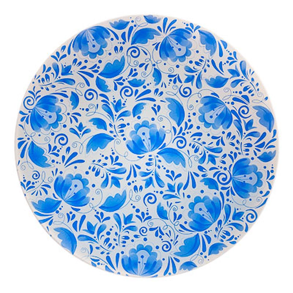 VETTA Гжельские мотивы Блюдо вращающееся 30,5см, стеклянное, дизайн GC