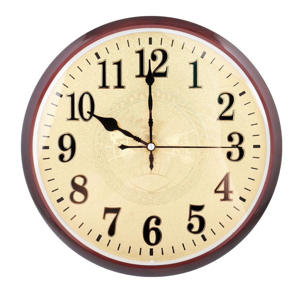 Часы настенные золотые, плавный ход, пластик, d29,5см, 1хАА