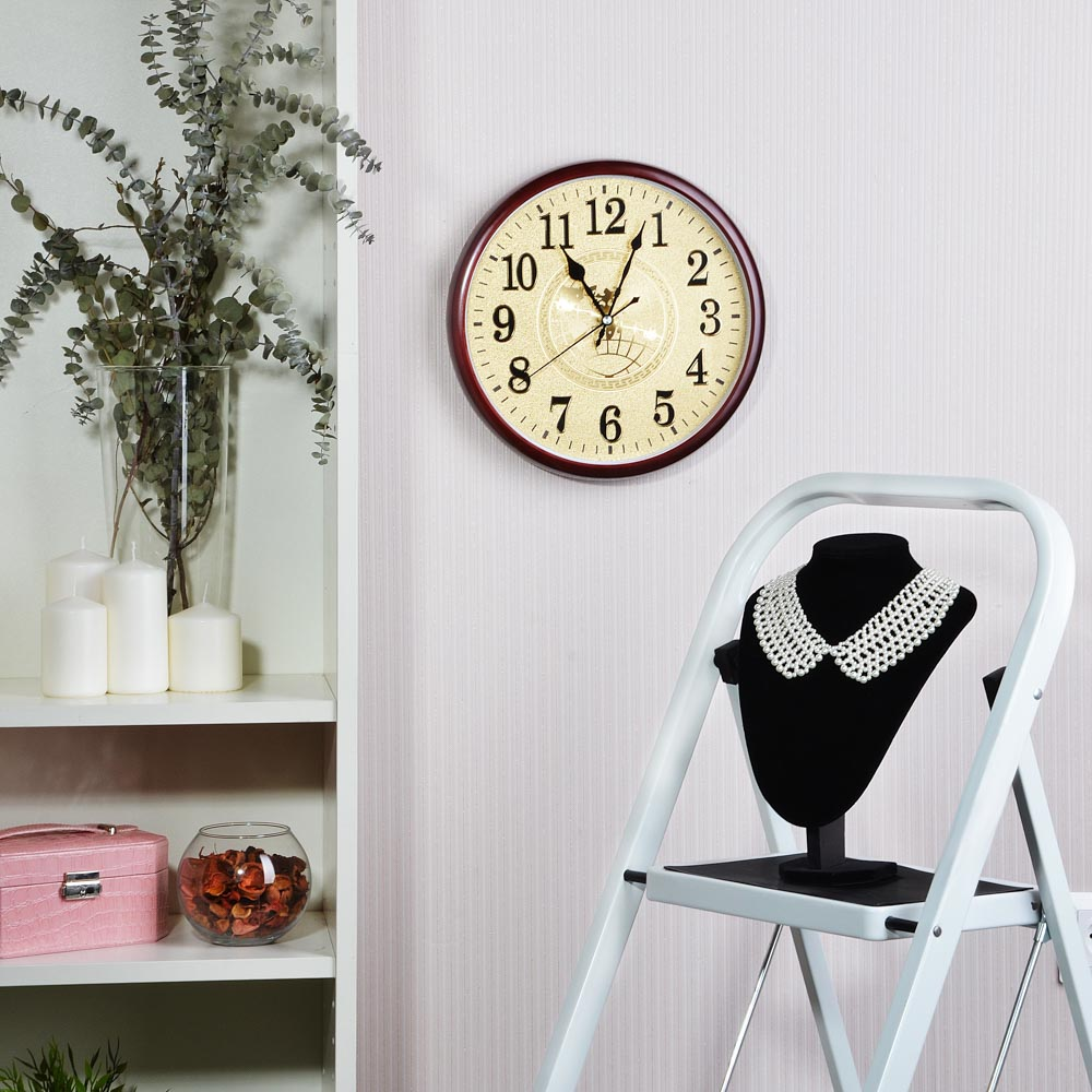 "Часы настенные LADECOR CHRONO , ""серебро/золото"" d29,5см, пластик, плавный ход, 1хАА, 2 цвета"