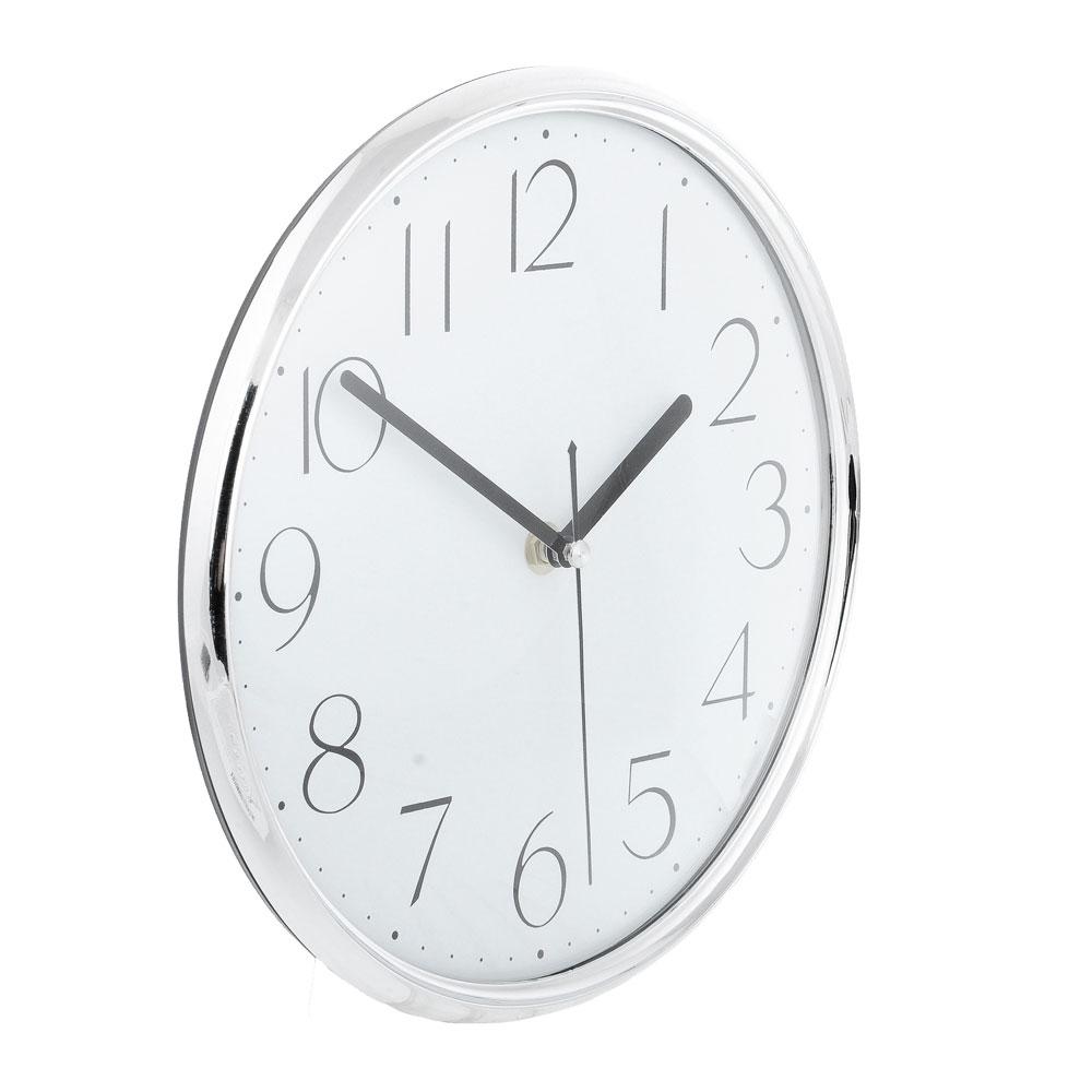 "Часы настенные, пластик, 25см, 1хАА, серебро, ""Металлик"""