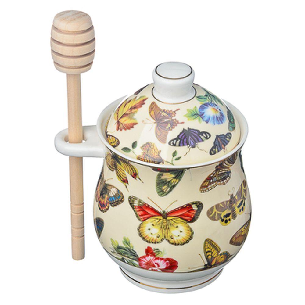 FARFALLE Кристиан Банка для меда с деревянной ложечкой, 340мл, костяной фарфор