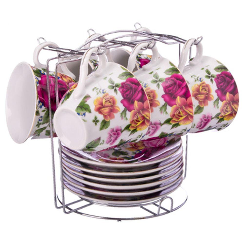 Яркий букет Набор чайный 12 пр. на металлической подставке, 220мл, фарфор