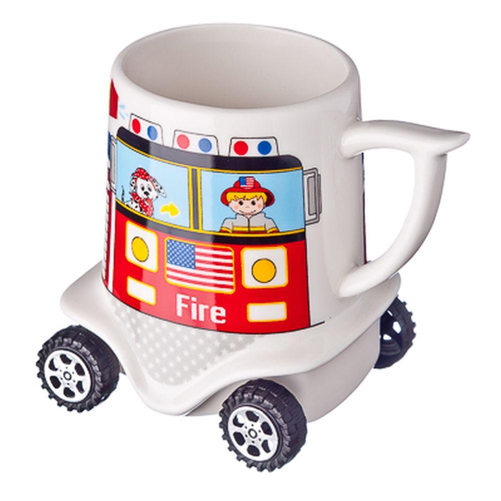 """Кружка на колесиках 300мл, костяной фарфор NBC, """"Пожарная машина"""""""