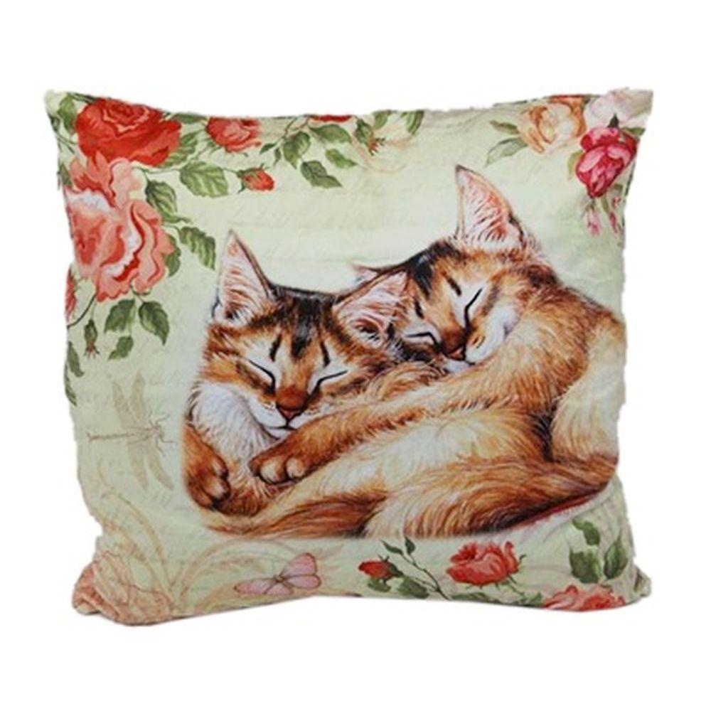"""Подушка с наволочкой, исскуств.мех, синтепон, полноцвет, 43х43см, 400гр, """"Котята"""""""