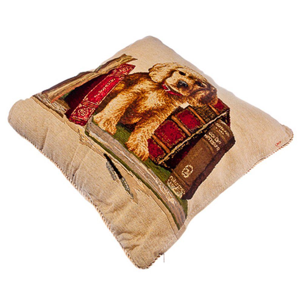 """Подушка с наволочкой, 400г синтепон, хлопок, лен, 45х45см, 2 дизайна, """"Собачки"""""""