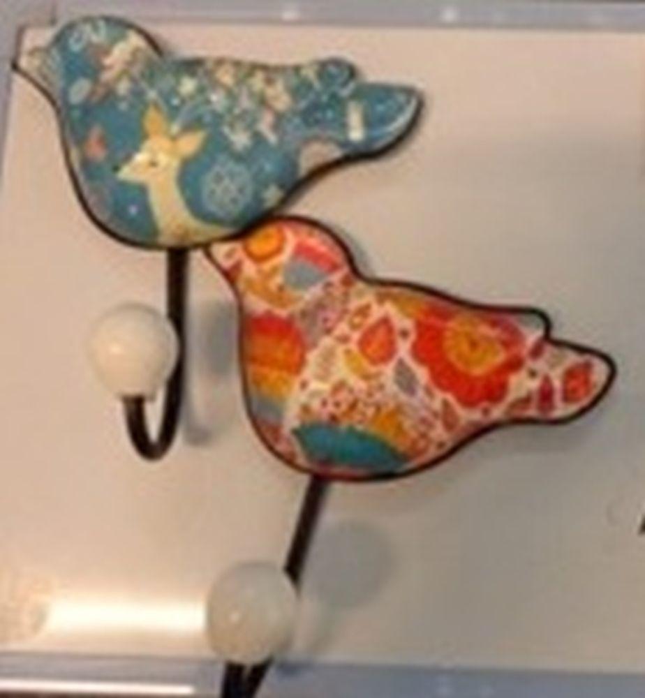 Крючок настенный в форме птицы, стекло, металл, 11,5х12,5см, 6 дизайнов