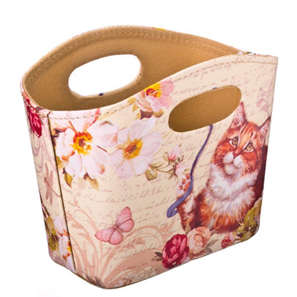 """Сумка-подставка для мелочей, ПВХ, искусств.кожа, 20x11x15см, """"Кот с лентой"""" Дизайн GC"""