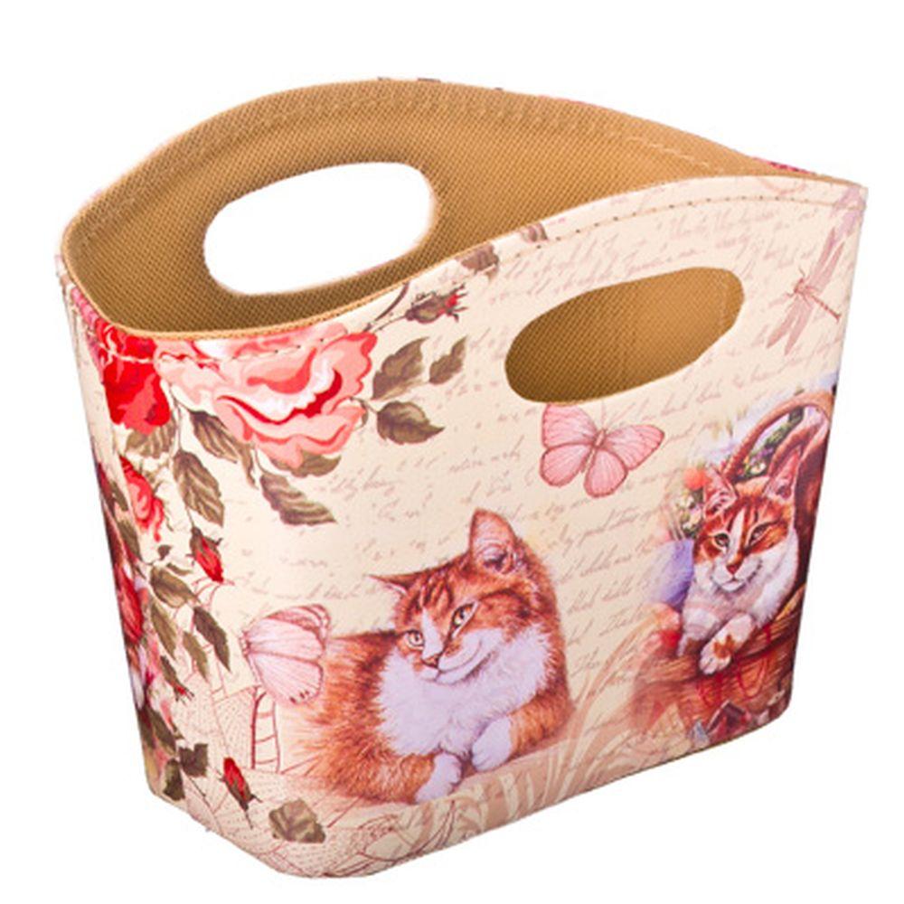 """Сумка-подставка для мелочей, ПВХ, искусств.кожа, 20x11x15см, """"Кошка в корзинке"""""""