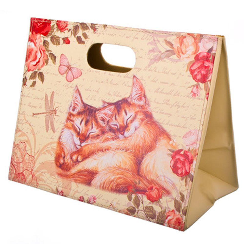 """Сумка-подставка для газет складная, ПВХ, искусств.кожа, 30х37,5см, """"Котята"""""""