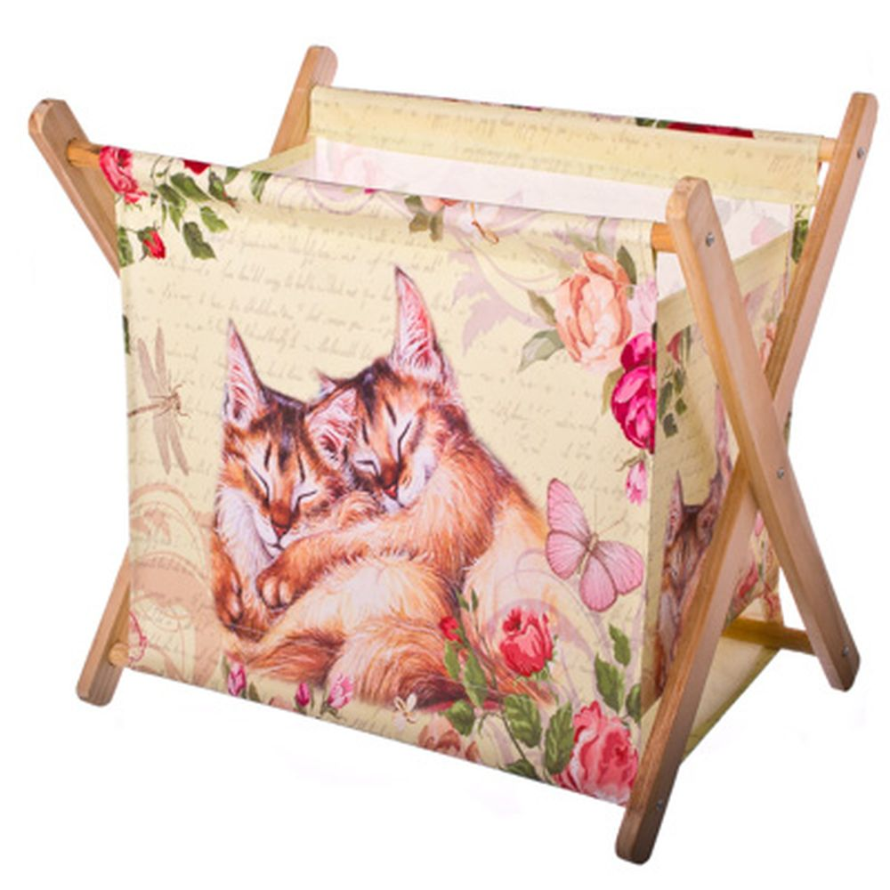 """Сумка-подставка для мелочей, ПВХ, дерево, 32х30х21см, """"Котята"""""""