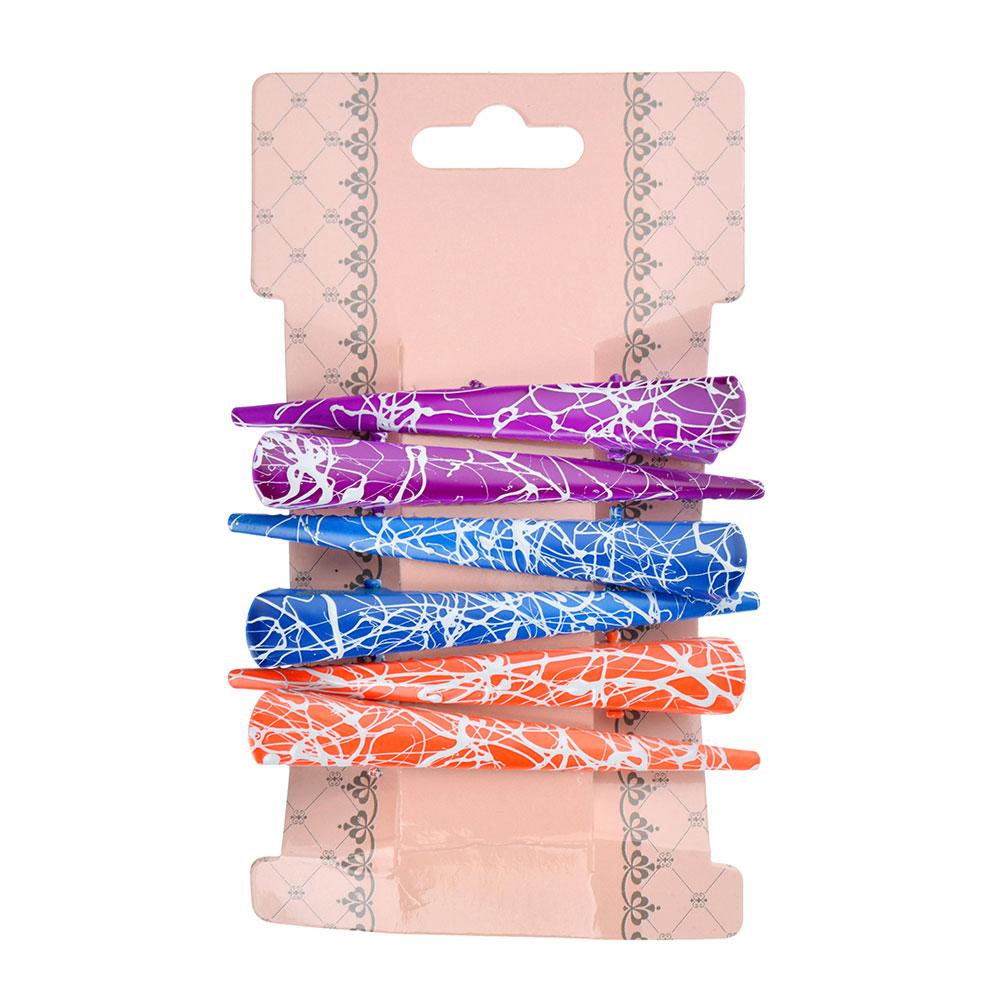 Набор заколок-зажимов для волос 6шт., металл, 7,5 см, 6 цветов