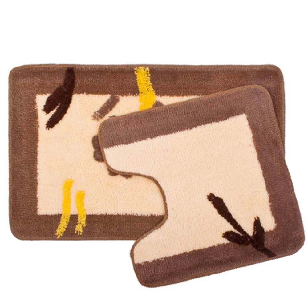 "VETTA Набор ковриков 2шт для ванной и туалета, акрил, 50x80см + 50x50см, ""Бежевый цветок"", SCF11-064"