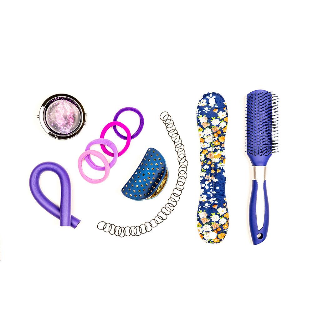 Расческа массажная полукруглая, пластик, силикон, 23,5 см, розовый, фиолетовый