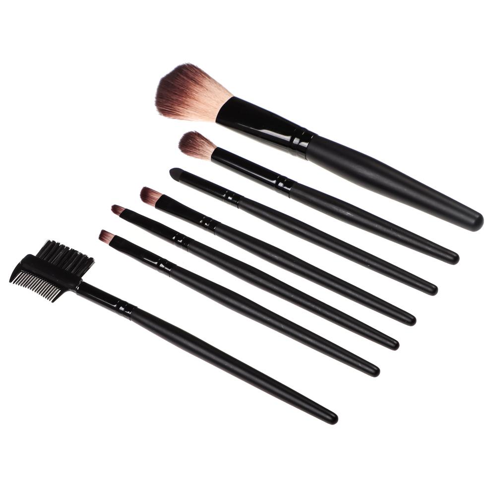 Набор кистей для макияжа 7шт професс., пластик, синтетич.нейлон, 15см, черный, 26905-26