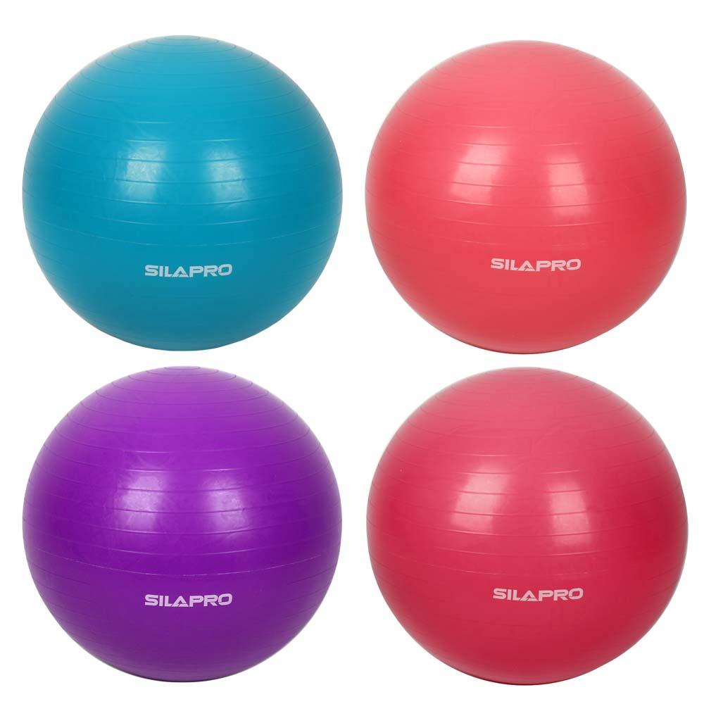 Мяч для фитнеса гимнастический, ПВХ, 65 см, 800 гр, 6 цветов, в коробке, SILAPRO