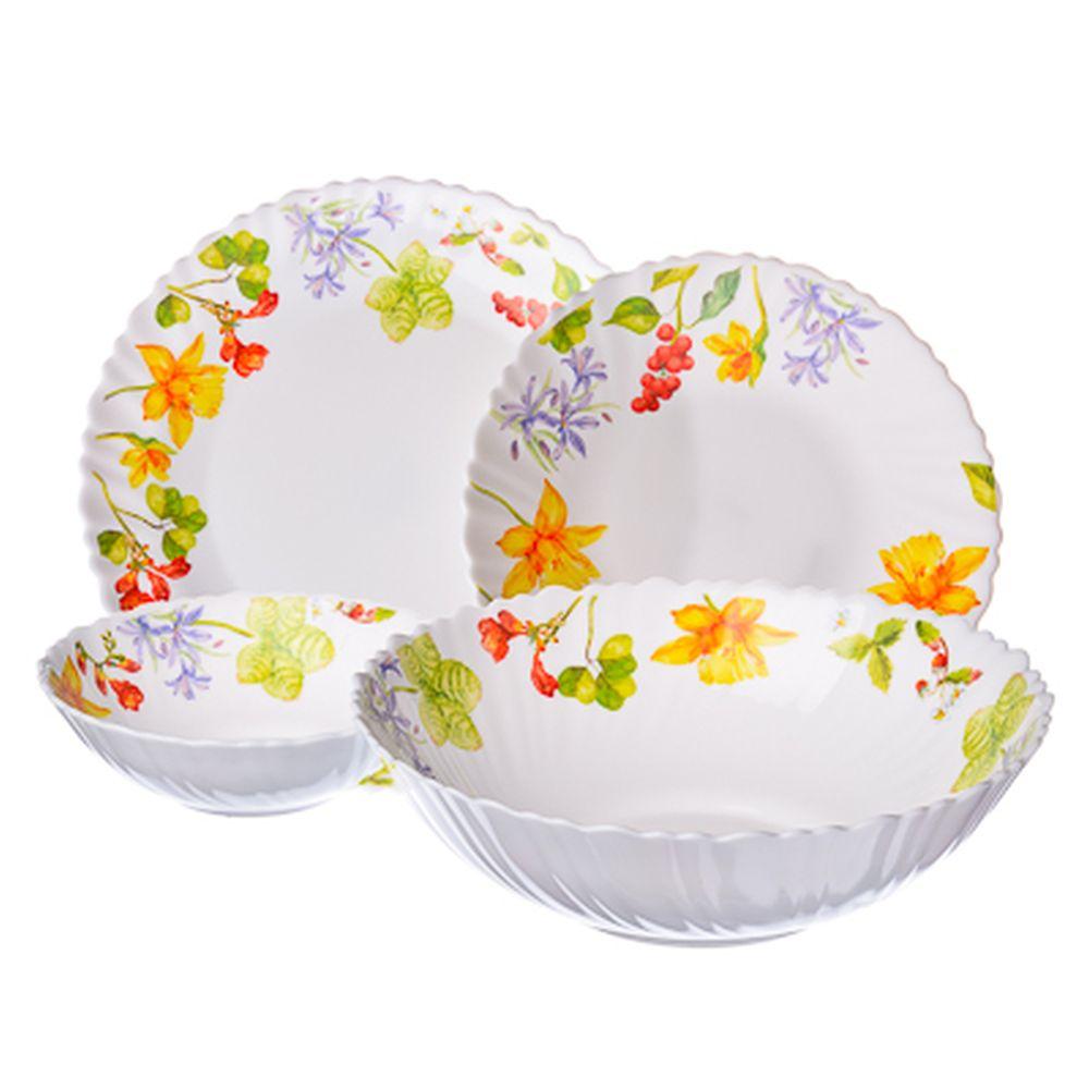 VETTA Протей Набор столовой посуды 19 пр. опаловое стекло тонкое, NH19C, дизайн GC