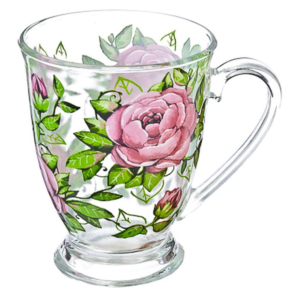 """VETTA Кружка стеклянная, 360мл, на ножке, """"Цветущая роза"""""""
