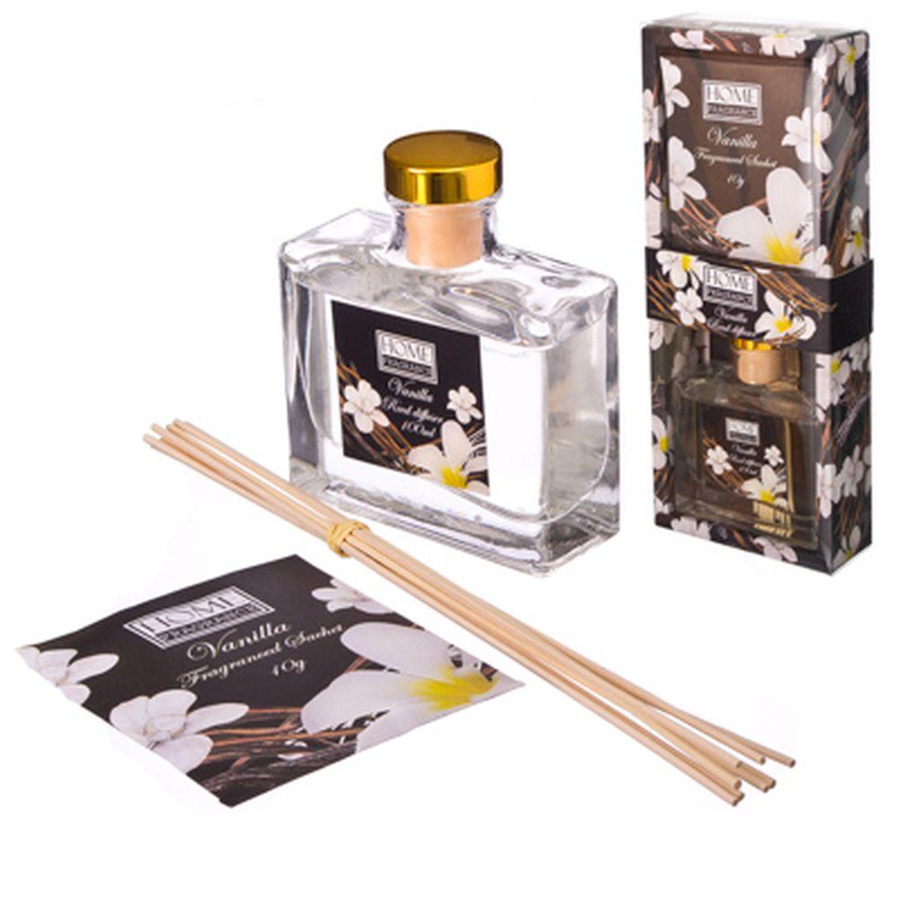 Ароманабор 100мл с 8 палочками, 4 аромата (корица с лимоном, ландыш, ваниль, пион), 0092