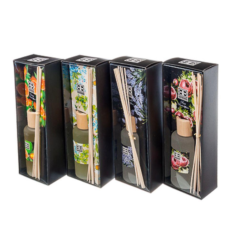 Ароманабор 200мл с 8 палочками, 4 аромата (апельсин, жасмин, лаванда, роза), 0122