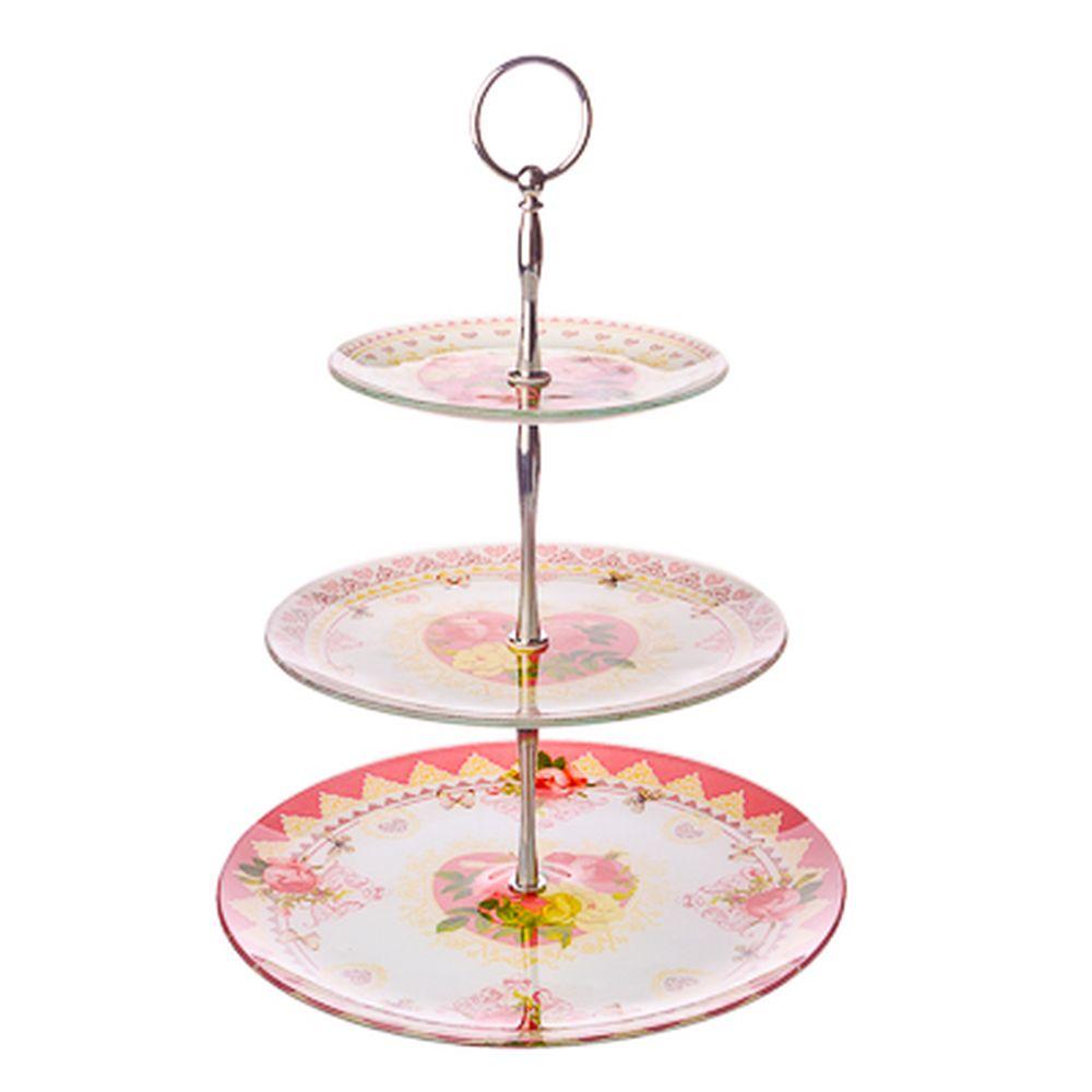 VETTA Букет роз Ваза для фруктов стеклянная трехъярусная S30100806/3