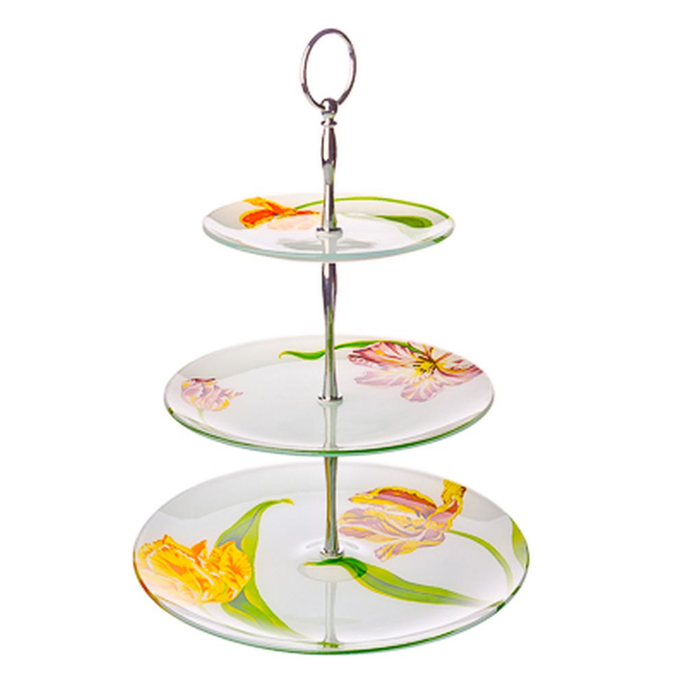 VETTA Тюльпаны Ваза для фруктов стеклянная трехъярусная S30100806/3