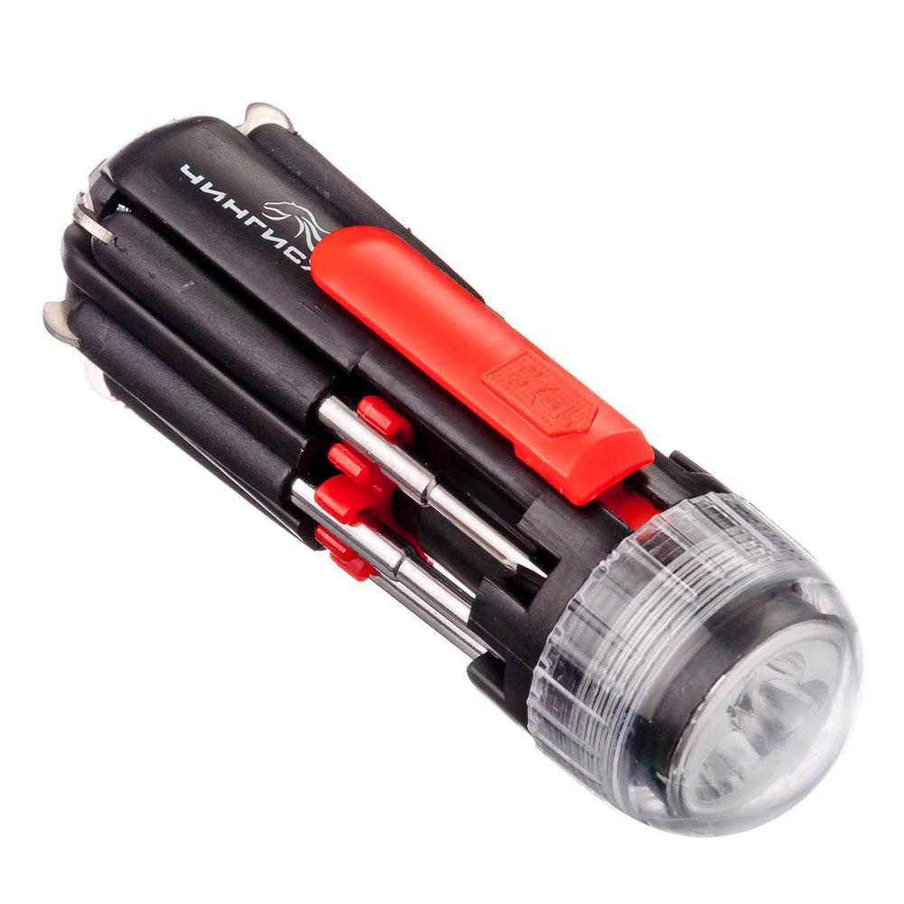 ЧИНГИСХАН Фонарь с инструментами 8-в-1 3 ярк.+ 1 LED, 2xAAA, пластик и металл, 11,5х4,5 см