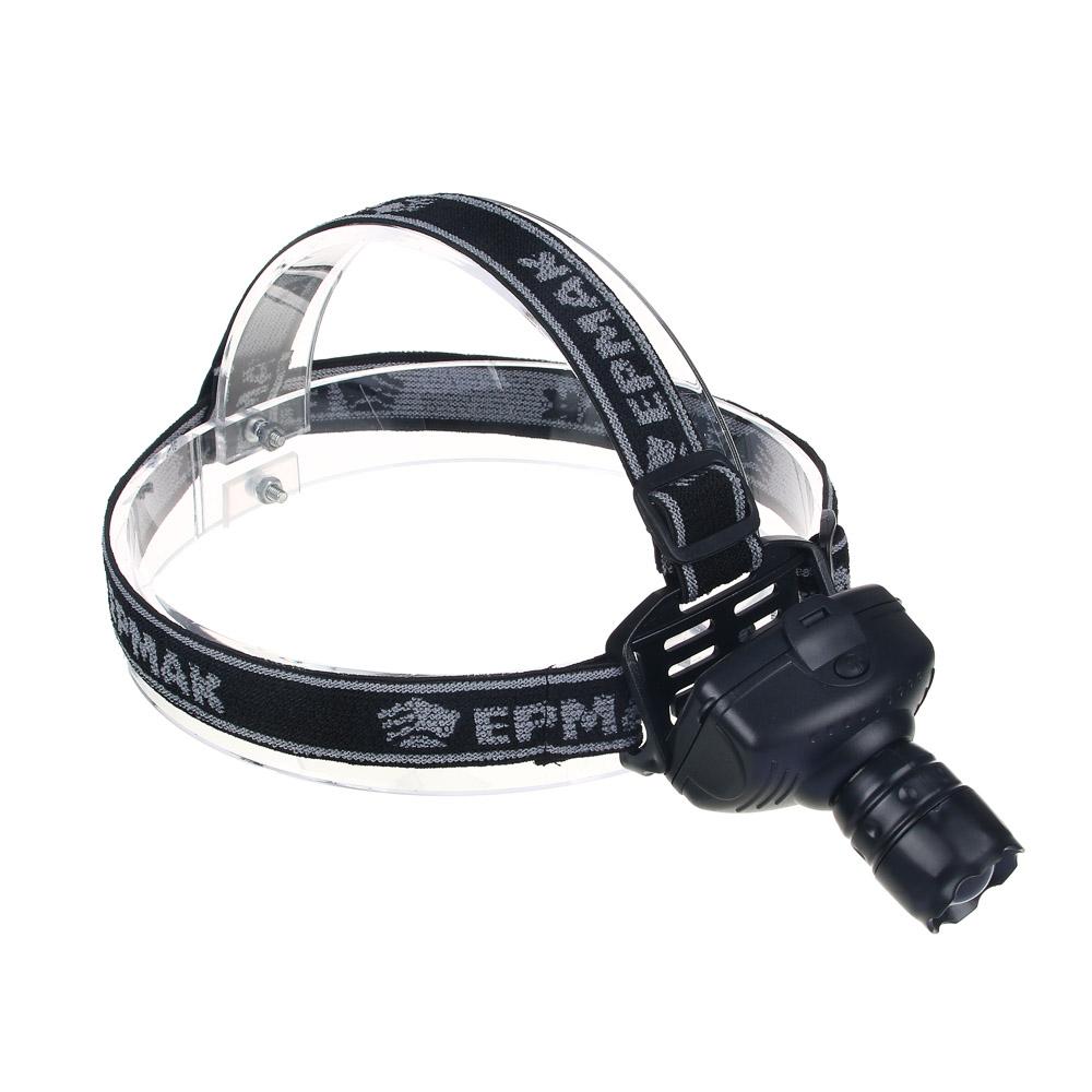 ЧИНГИСХАН Фонарь налобный с фокусировкой 3 Вт LED, 3xAAA, 6х5см