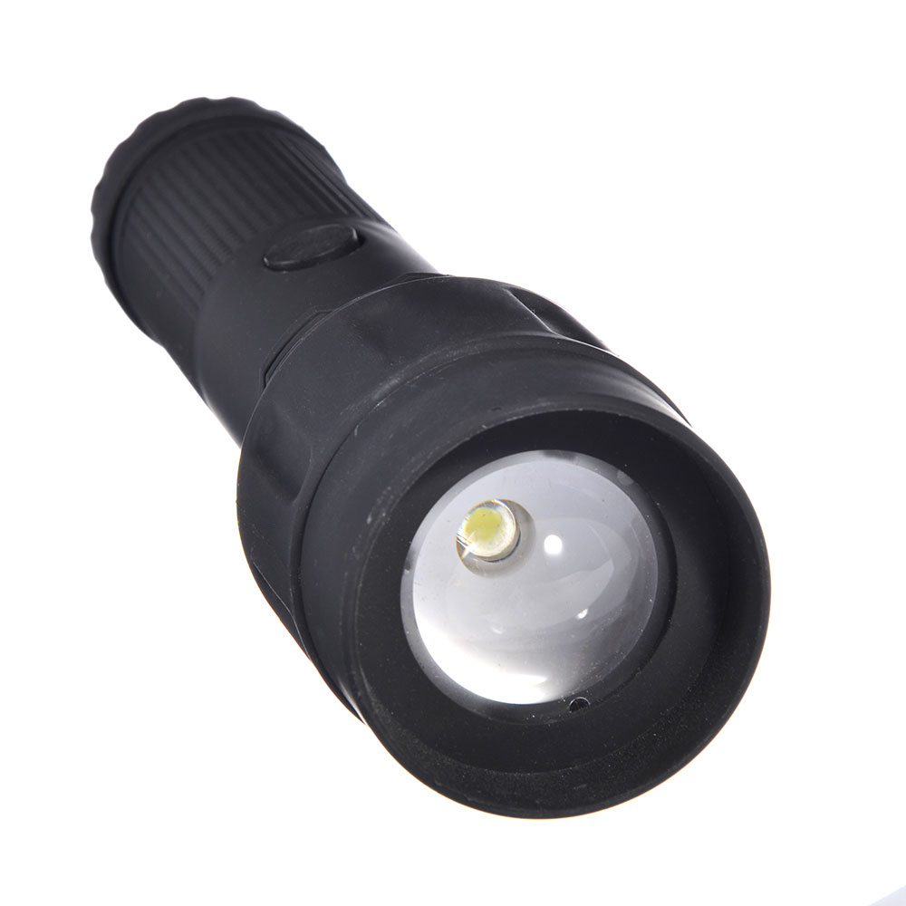 ЧИНГИСХАН Фонарь с фокусировкой 1 Вт LED, 3xAA, резинопластик, 20х5 см