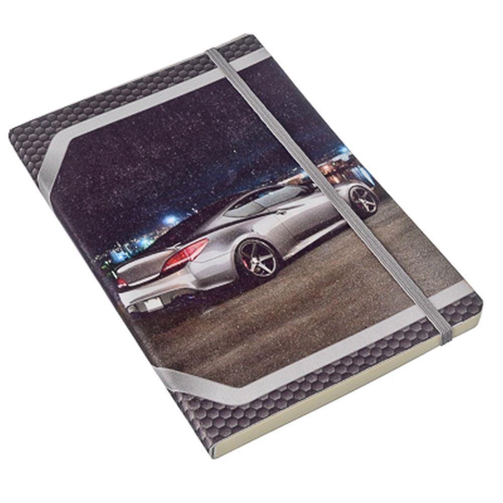 Блокнот-премиум с резинкой 96 л., 21x14см, мягкая обл., в линейку, дизайн 3