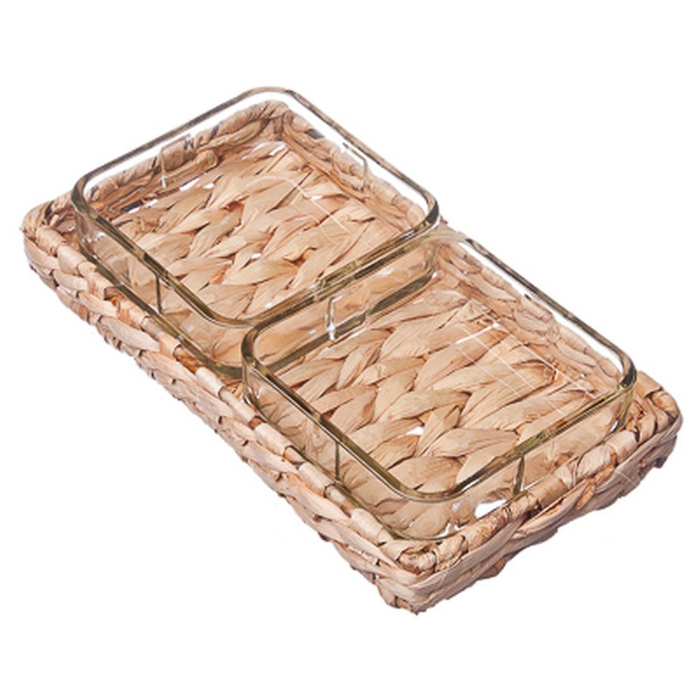 VETTA Грация Набор блюд квадратных 2пр, 10,5x10,5см, на плетеной подставке, 4039