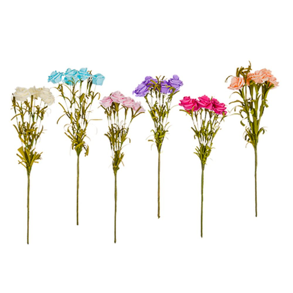 """Цветок искусственный """"Роза дикая"""" 33см, пластик, неопрен, 6 цветов, арт.А001-26"""