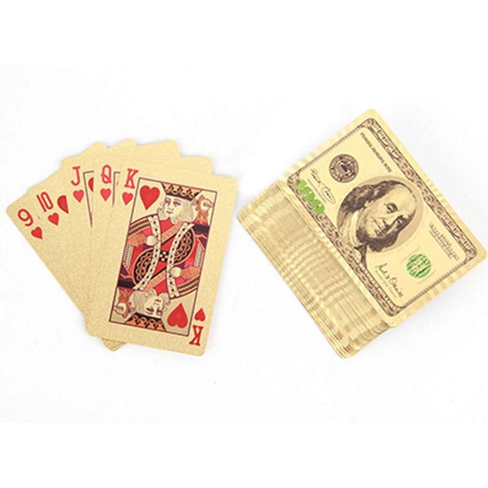 """Карты сувенирные игральные """"Золотые 100 долларов 2"""" 54 карты, пластик"""