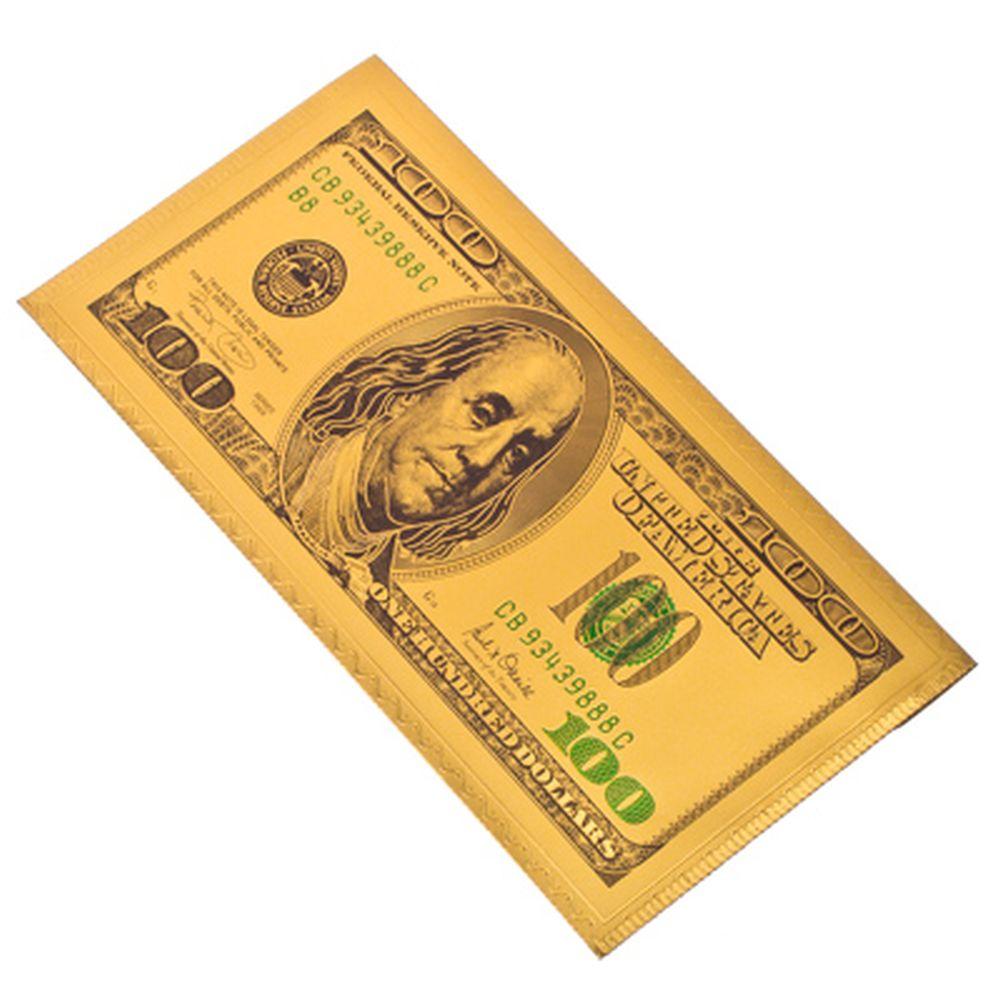 """Конверт для денег, пластик, 9x18см, """"Золотые 100 долларов"""""""
