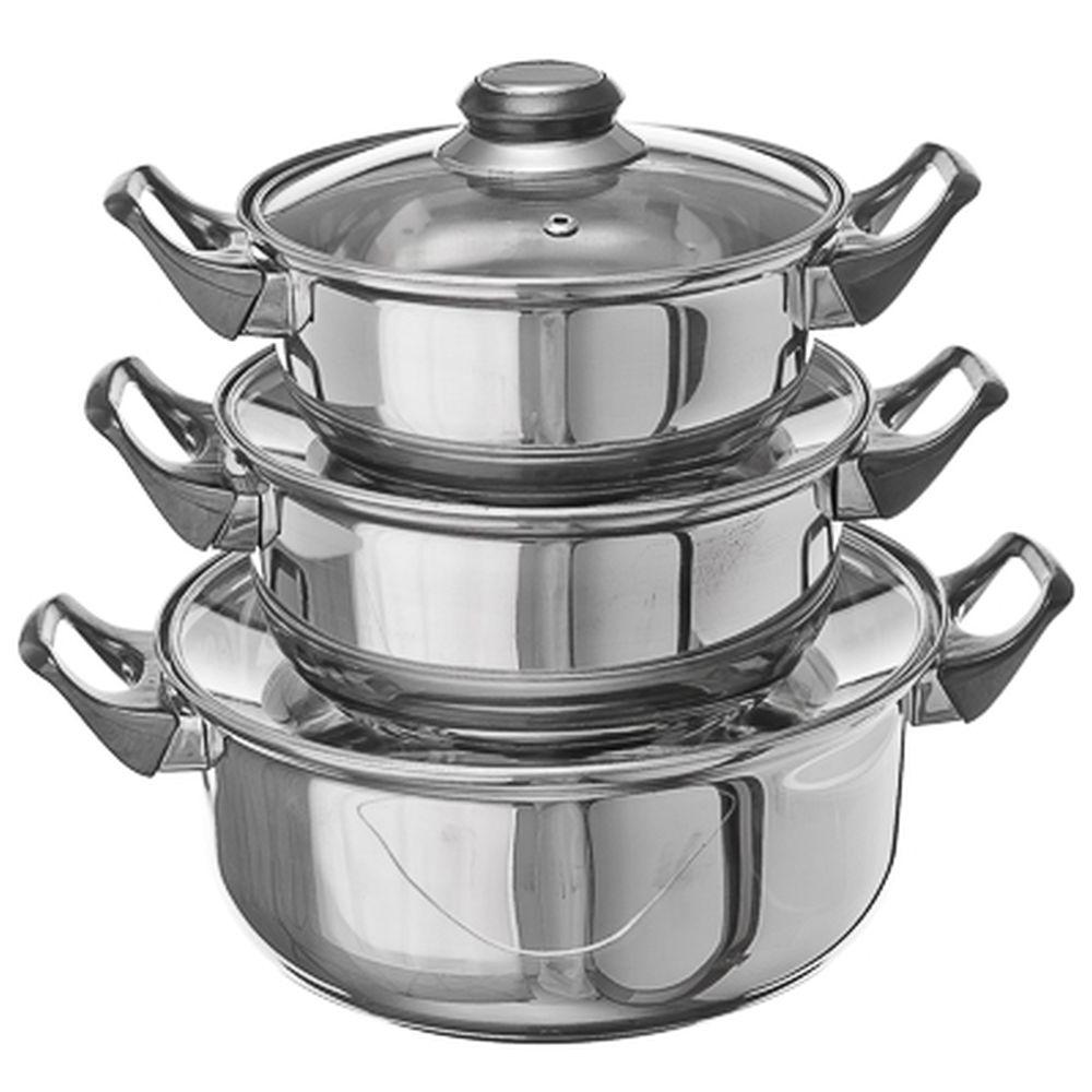 Набор посуды ОМЕГА, 6 предметов, нержавеющая сталь, стеклянные крышки