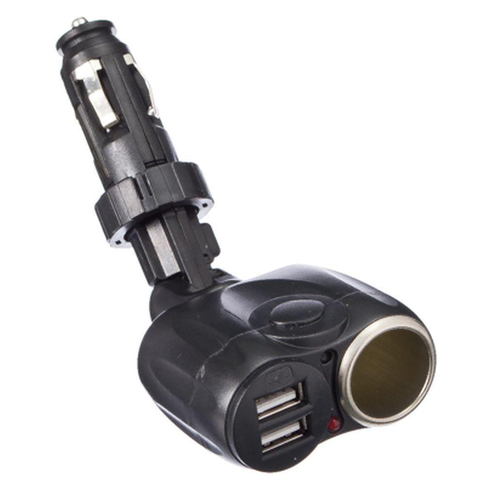 NEW GALAXY Разветвитель прикуривателя на регулируемой ножке 1 гнездо + 2 USB, 3A
