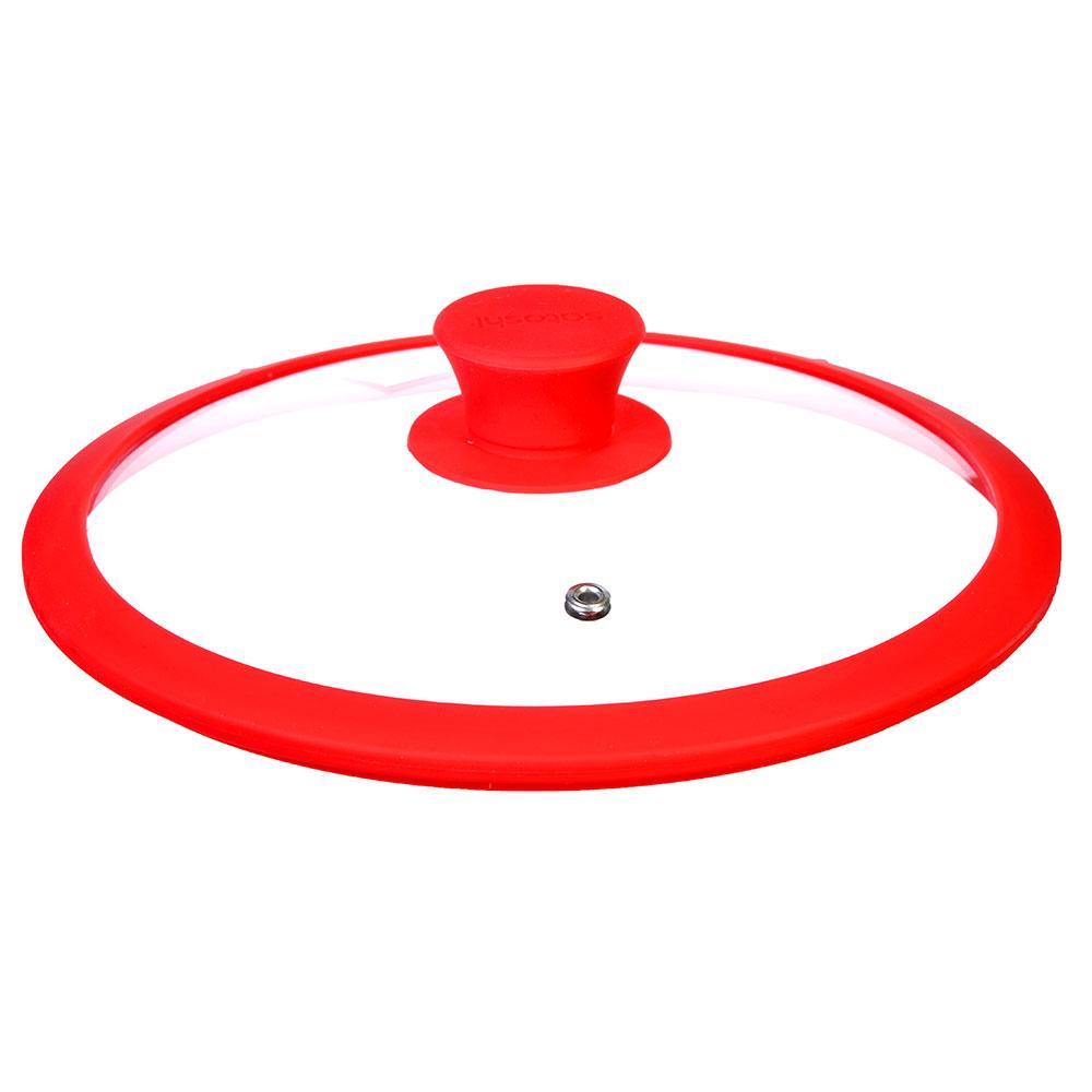 Крышка для сковороды с ручкой, стекло, силикон, 28 см, SATOSHI