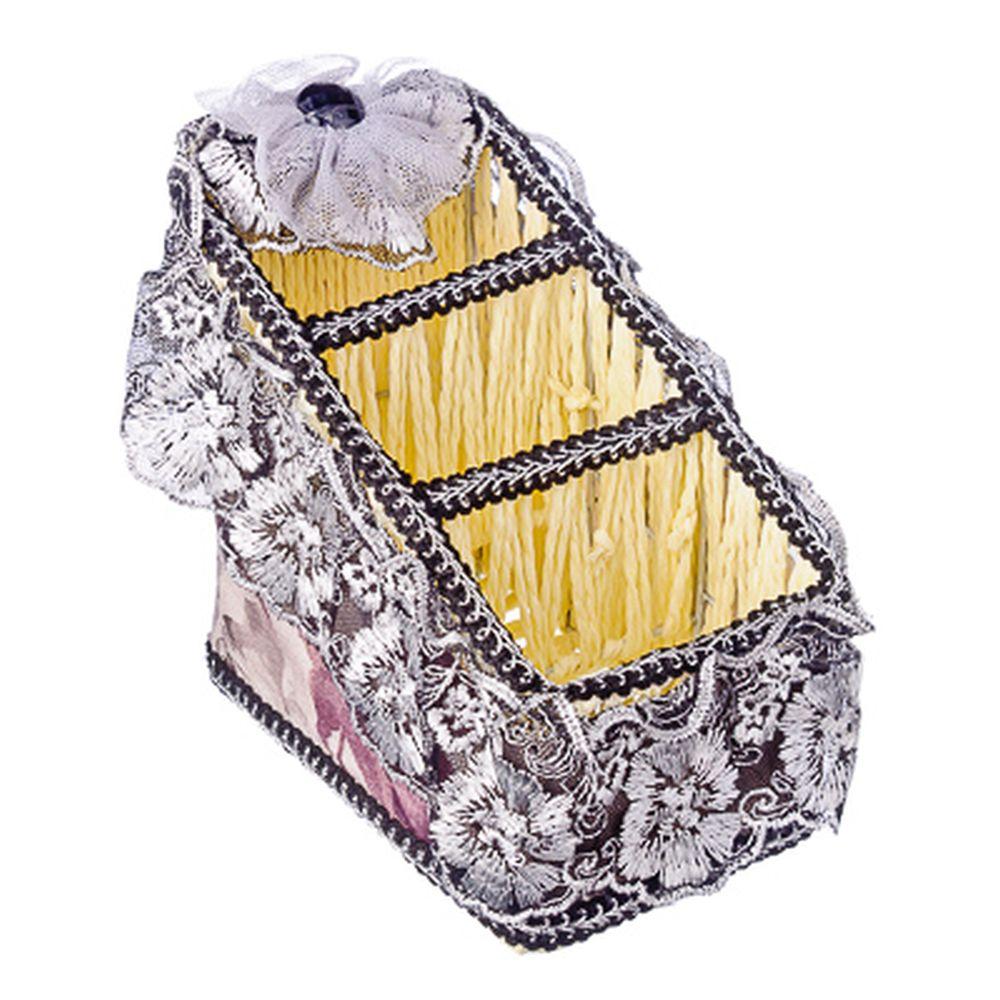 Корзина универсальная, металл, бумага, текстиль (хлопок, кружева), пластик, 18х10х15х7см