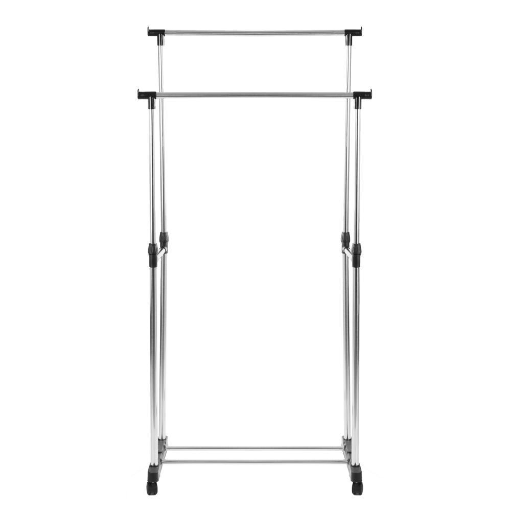 Вешалка напольная двойная VETTA, телескоп., на колесах, металл, пластик, 80x42x80(160) см